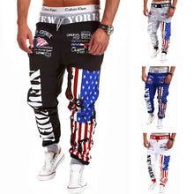 Load image into Gallery viewer, Nesa Fashion  Letter Print Joggers Casual Harem Pants Men Loose Fit Ankle Banded Trousers Male Sportswear Cotton Sweat Sweatpants Men