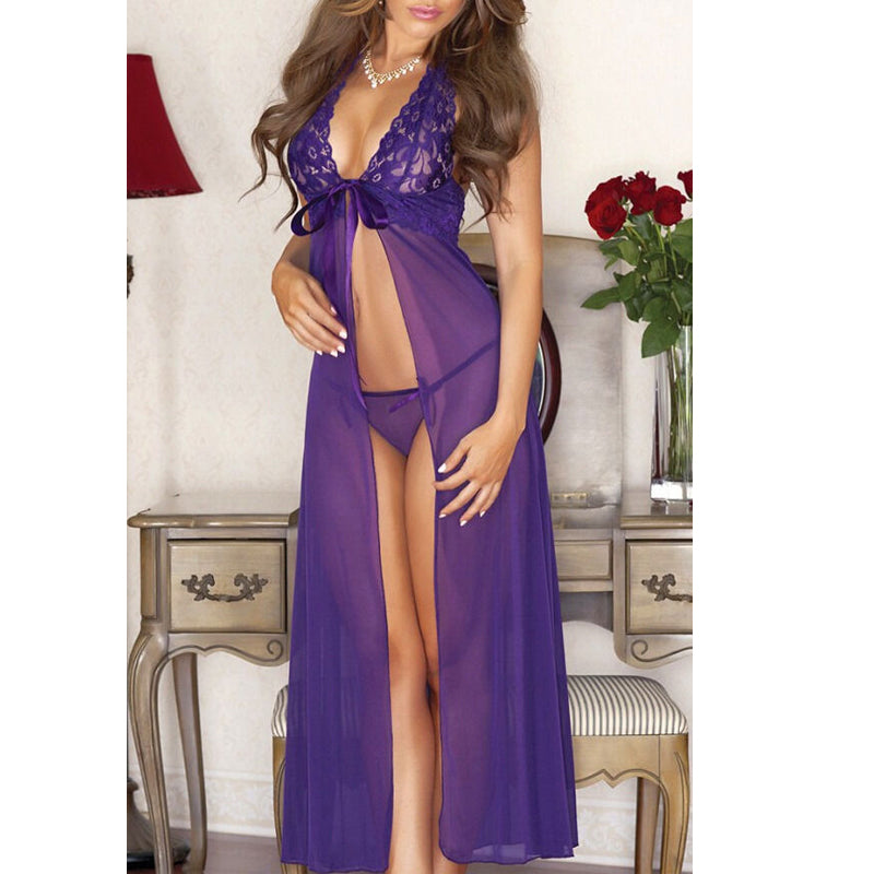 New Sexy Babydoll Sleepwear Women Lace Chiffon Night Dress With G-String Sexy V-Neck Backless Lingerie Nightgowns Nightwear