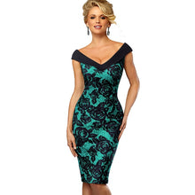 Load image into Gallery viewer, NESA FASHION - Nice-forever Vintage Contrast Color Elegant Flower Sexy Off Shoulder vestidos Business Party Bodycon Sheath Women Dress B425