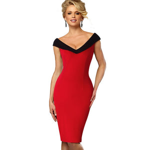 NESA FASHION - Nice-forever Vintage Contrast Color Elegant Flower Sexy Off Shoulder vestidos Business Party Bodycon Sheath Women Dress B425