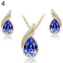 Load image into Gallery viewer, Bluelans Fashion Women's Party Banquet Waterdrop Jewelry Set Crystal Pendant Necklace Earrings Golden Tone