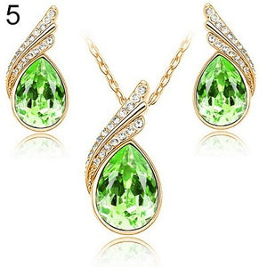 Bluelans Fashion Women's Party Banquet Waterdrop Jewelry Set Crystal Pendant Necklace Earrings Golden Tone