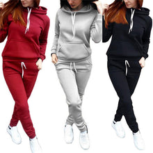 Load image into Gallery viewer, Nesa Fashion 2Pcs/Set Women Hoodies Hooded Tops Cotton Long Sleeve Sweatshirt+Sweat Long Pants Woman Autumn Winter 2pcs Warm Outfits Suit