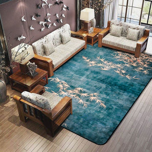 Nesa Fashion 3D Plum Flower Carpet for Parlor Crane Printed Living Room Area Rugs Skid Resistance Fashion Style Maple Floor Rugs for Bedroom
