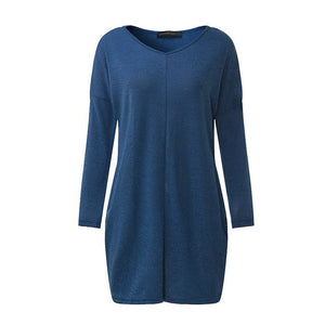ZANZEA Casual Blusas Women Knitted Sweater 2018 Loos Pullovers Tops Female V Neck Long Sleeve Thin Knitwear Plus Size Tops