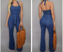 Load image into Gallery viewer, Nesa Fashion Women Denim Jumpsuit Sleeveless Long Jeans Sexy off shoulder Slim cowboy Jumpsuits halter lace up Playsuits Rompers