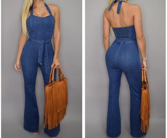 Nesa Fashion Women Denim Jumpsuit Sleeveless Long Jeans Sexy off shoulder Slim cowboy Jumpsuits halter lace up Playsuits Rompers