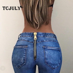 TCJULY New Arrival Softener Washed Jeans With Zipper Back Push Up Skinny Stretching Straight Denim Pants Casual Hot Women Jeans