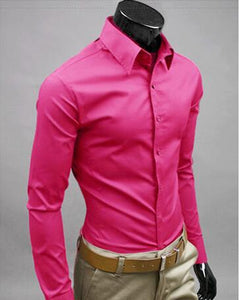 Nesa Fashion Men Shirt Long Sleeve Fashion Mens Casual Shirts Cotton Solid Color Business Slim Fit