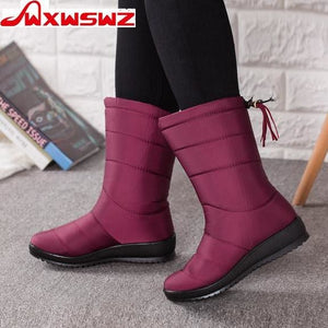 Nesa Fashion  Winter  Women Boots Mid-Calf Down Boots Girls Winter Shoes Woman Plush Insole Botas Female Waterproof Ladies Snow Boots