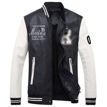 Load image into Gallery viewer, Nesa Fashion  high quality men's leather jacket men's coat Leisure jacket motorcycle leather jacket Baseball uniform