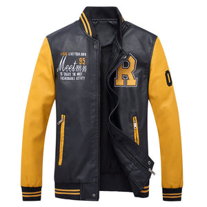 Nesa Fashion  high quality men's leather jacket men's coat Leisure jacket motorcycle leather jacket Baseball uniform