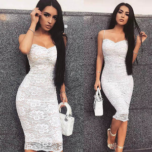 Nesa Fashion Sexy Deep V Backless Lace Midi Women Bandage Party Dress Fashion Spaghetti Strap Black Bodycon Dress Vestidos