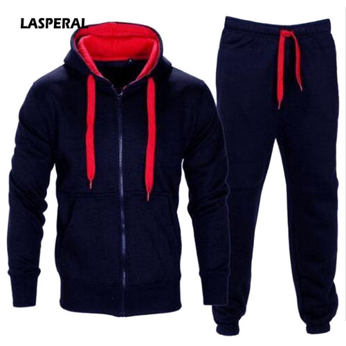 LASPERAL Tracksuit Men 2018 Autumn Sportwear Fashion Mens Set 2PC Zipper Hooded Sweatshirt Jacket+Pant Moleton Masculino Sets