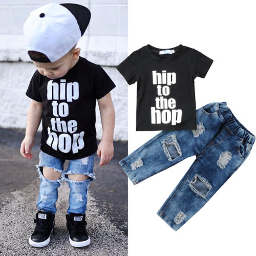 Nesa Fashion 2PCS Newborn Infant Kid Baby Boy Clothes T shirt Tops Denim Long Pants Outfits Set