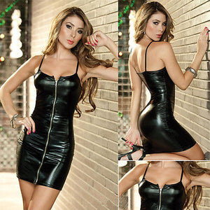 Sexy Women Synthetic Leather Zipper Dress Sleeveless Strappy Bodycon Temptation Package Hip Dress Black Evening Party Dress