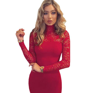 Sexy Women White Lace Dress New 2018 Winter Turtleneck Long Sleeve Red Black Club Factory Bodycon Bandage Midi Party Dresses