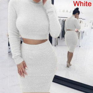 Set (2pcs) Autumn Women Bandage Suit Long Sleeve Fleece Crop Top Pencil Midi Skirt Solid Bodycon Dress Sweater Tracksuit
