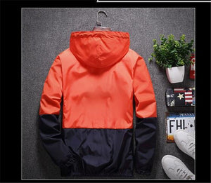Nesa Fashion New Spring Autumn Bomber Hooded Jacket Men Casual Slim Patchwork Windbreaker Jacket Male Outwear Zipper Thin Coat Brand Clothing