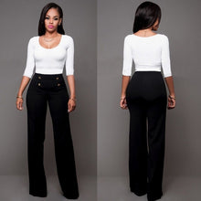 Load image into Gallery viewer, Hot Women Casual Harem Long Pants High Waist Elastic High Waist Cropped Length OL Trousers Solid Black White Wine Red