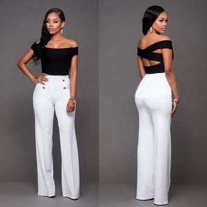 Hot Women Casual Harem Long Pants High Waist Elastic High Waist Cropped Length OL Trousers Solid Black White Wine Red