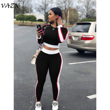 Load image into Gallery viewer, VAZN 2018 New Style Brand Fashion Casual 2 piece Set Women Solid O-Neck Full Sleeve Long Pants Bodycon Set W8051