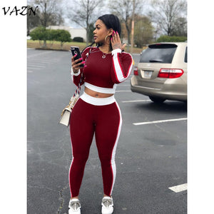 VAZN 2018 New Style Brand Fashion Casual 2 piece Set Women Solid O-Neck Full Sleeve Long Pants Bodycon Set W8051