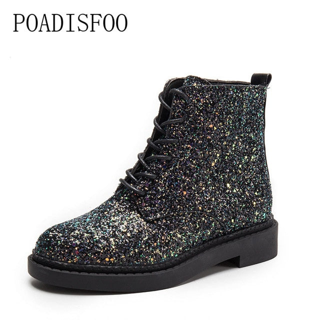 POADISFOO  Women shoes Martin boots 2017 new senior PU Round Toe Square heel Low heel Sweet Bling Lace-Up Ankle Boots.CBSL-FS707