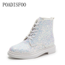 Load image into Gallery viewer, POADISFOO  Women shoes Martin boots 2017 new senior PU Round Toe Square heel Low heel Sweet Bling Lace-Up Ankle Boots.CBSL-FS707