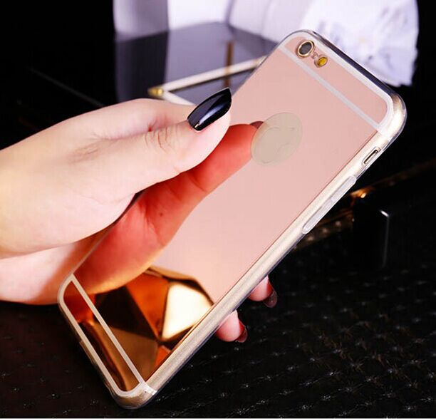Fashion Rose Gold Luxury Mirror Flash Fashion Case For Iphone 7 6 6s