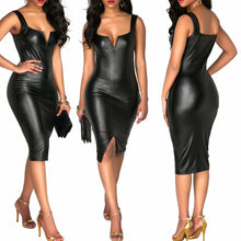Load image into Gallery viewer, Nesa Fashion Leather Dress  Fashion Women Bandage Bodycon Pencil Sleeveless Club Party Short Dress Leather boat neck sleeveless dresses