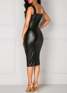 Nesa Fashion Leather Dress  Fashion Women Bandage Bodycon Pencil Sleeveless Club Party Short Dress Leather boat neck sleeveless dresses