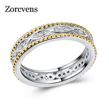 Load image into Gallery viewer, ZORCVENS 2018 Silver Gold Color Zircon Hollow Rings Women Wedding Party Trendy Fine Jewelry