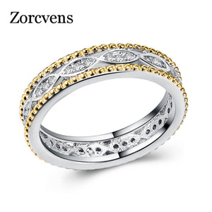 ZORCVENS 2018 Silver Gold Color Zircon Hollow Rings Women Wedding Party Trendy Fine Jewelry