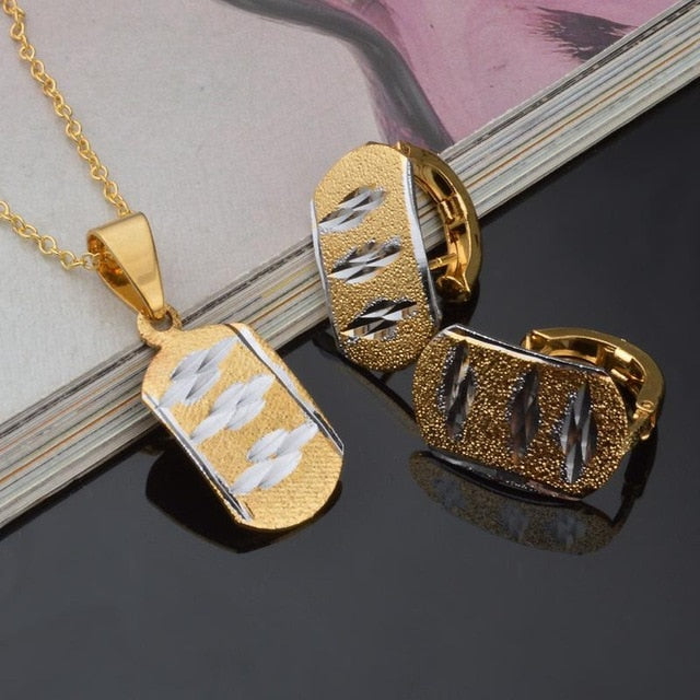 Nesa Fashion Romantic Rap Gold Ellipse Pendant Necklace Earring Set Novely HipHop Party Necklaces Jewelry Sets Accessories Gift