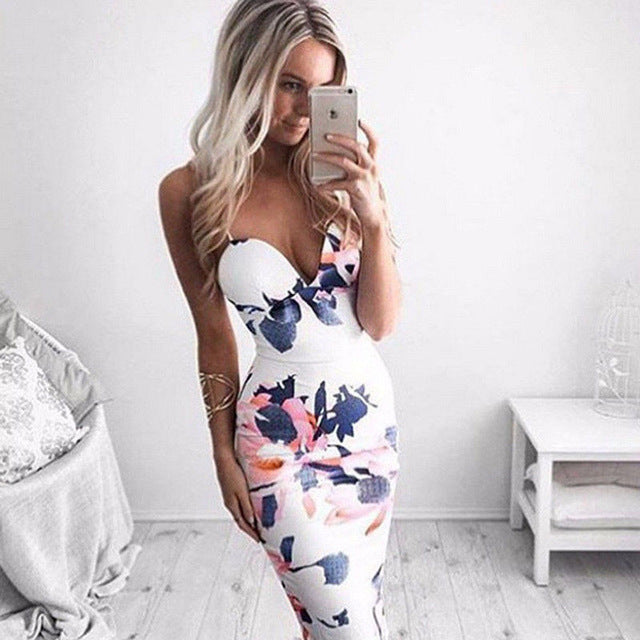 Trendy Women dress V-neck Floral print Bandage Bodycon Sleeveless Evening Sexy Polyester Mini Dresses one pieces