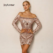 Load image into Gallery viewer, Nesa Fashion Elegant Sequined Dress Off The Shoulder Long Sleeve Ladies Sexy Chic Dress Christmas Night Clubwear Outfit For women