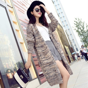 Autumn Winter Cardigan Women New Jumper Korean Loose Long Casual Sweater Coat Female Big Sweaters Shirt Clothing Vestidos LXJ290