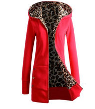 Load image into Gallery viewer, COYOTE VALLEY The new 2018 thickening and hooded fleece big yards leopard print fleece jacket ladies fashion coat women fleece