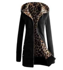 COYOTE VALLEY The new 2018 thickening and hooded fleece big yards leopard print fleece jacket ladies fashion coat women fleece