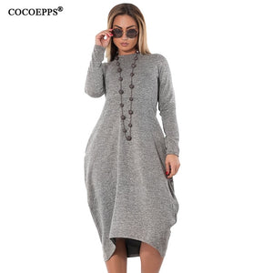 Nesa Fashion Loose Casual women Dress big sizes new Autumn Winter Plus Size long dress Irregular Long Sleeve dresses vestidos