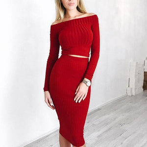 Nesa Fashion Women Sexy Dress Elastic Bodycon Two Piece Set Long Sleeve Crop Top Package Hip Dress Winter Party Dress 2018 New Female