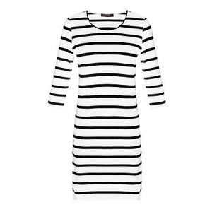 Nesa Fashion Dresses Long Sleeve Summer Autumn Women's Round Neck Black and White Stripes Long Sleeves Slim Dress