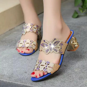 Nesa Fashion Women Sandals  Women Rhinestone Sandals  Fashion Open Toe Shoes Bohemia high Heel Shoe summer sandals