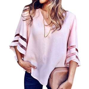 NIBESSER Women's Summer Tops 2018 V-neck Loose Women Sexy T-shirts Mesh Patchwork tshirt Female Gothic Streetwear Tees Top Wear