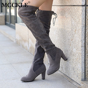 Nesa Fashion Female Winter Thigh High Boots Faux Suede Leather High Heels Women Over The Knee Shoes Plus Size 34-43