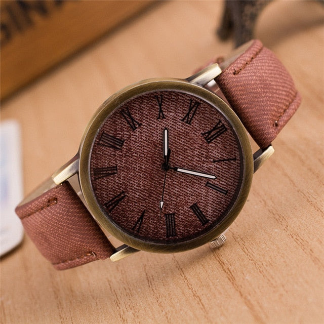 Roman Numberals High Quality Denim Fabric Band Montre Femme Dress Women Wrist Watches W009