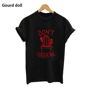 Nesa Fashion DON'T TOUGH ME Cactus T shirt Women Casual Summer Tshirts Cotton Femme tops & tees Vintage Black White Red T-shirt Women