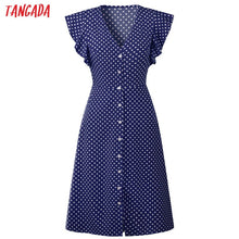Load image into Gallery viewer, Tangada polka dot dress for women office midi dress 80s 2018 vintage cute A-line dress red blue ruffle sleeve vestidos AON08