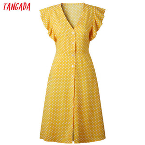 Tangada polka dot dress for women office midi dress 80s 2018 vintage cute A-line dress red blue ruffle sleeve vestidos AON08